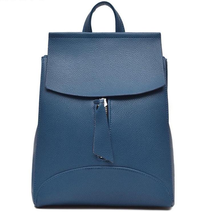 A-SHU BLUE SLIM-LINE FAUX LEATHER EFFECT BACKPACK / RUCKSACK WITH TOP HANDLE - A-SHU.CO.UK