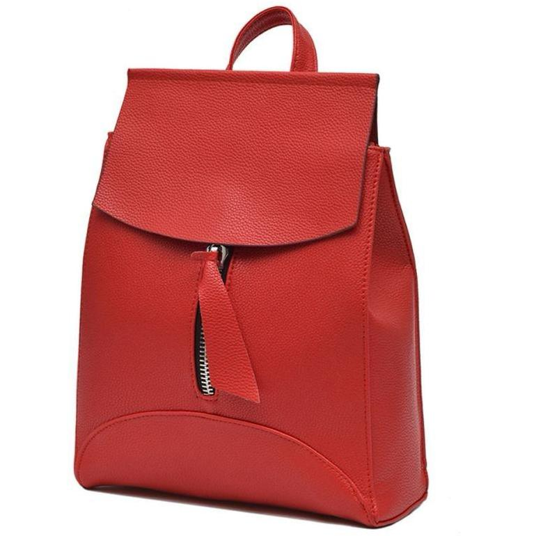 RED SLIM-LINE FAUX LEATHER EFFECT BACKPACK / RUCKSACK WITH TOP HANDLE