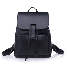 SMART BLACK FAUX LEATHER EFFECT BACKPACK / RUCKSACK