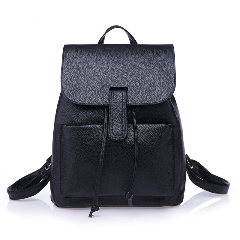 A-SHU SMART BLACK FAUX LEATHER EFFECT BACKPACK / RUCKSACK - A-SHU.CO.UK