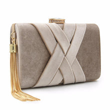 A-SHU GREY FAUX SUEDE HARDBACK CLUTCH BAG WITH CRISS-CROSS DESIGN - A-SHU.CO.UK