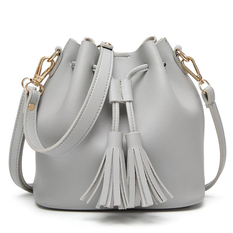 SMALL GREY DRAWSTRING TASSEL BUCKET BAG / CROSS BODY SHOULDER BAG