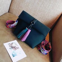 PINK DESIGNER STYLE FAUX SUEDE CROSS-BODY HANDBAG WITH TASSELS