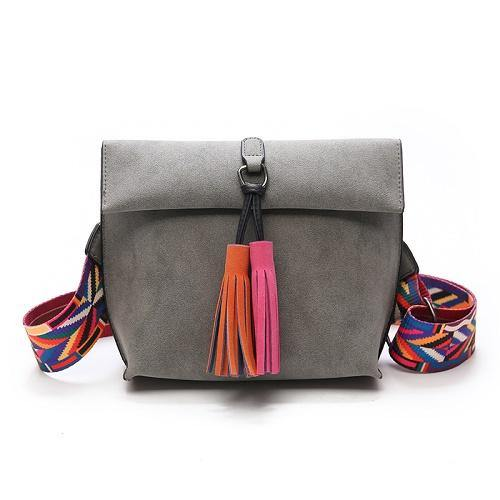 A-SHU GREY DESIGNER STYLE FAUX SUEDE CROSS-BODY HANDBAG WITH TASSELS - A-SHU.CO.UK