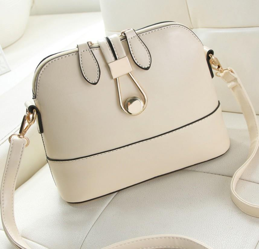 A-SHU CREAM FAUX LEATHER CROSS-BODY BAG WITH LONG SHOULDER STRAP - A-SHU.CO.UK