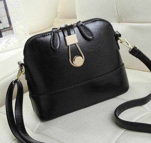 A-SHU BLACK FAUX LEATHER CROSS-BODY BAG WITH LONG SHOULDER STRAP - A-SHU.CO.UK