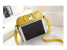 YELLOW FAUX LEATHER CROSS-BODY BAG WITH LONG SHOULDER STRAP