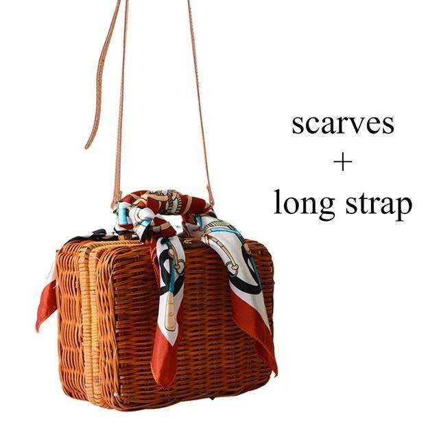 A-SHU SMALL STRAW TRUNK BAG / CROSS-BODY BAG WITH SCARF AND LONG STRAP - A-SHU.CO.UK
