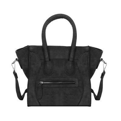 A-SHU DESIGNER STYLE HANDBAG WITH BAT WINGS AND LONG SHOULDER STRAP - BLACK - A-SHU.CO.UK