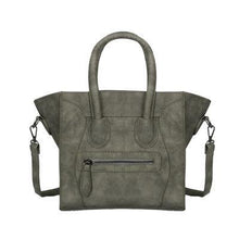 A-SHU DESIGNER STYLE HANDBAG WITH BAT WINGS AND LONG SHOULDER STRAP - GREY - A-SHU.CO.UK