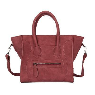 A-SHU DESIGNER STYLE HANDBAG WITH BAT WINGS AND LONG SHOULDER STRAP - RED - A-SHU.CO.UK