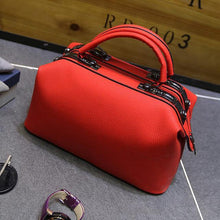 A-SHU RED FAUX LEATHER DOCTOR STYLE HOLDALL HANDBAG - A-SHU.CO.UK