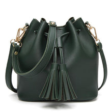 A-SHU SMALL GREEN DRAWSTRING TASSEL BUCKET BAG / CROSS BODY SHOULDER BAG - A-SHU.CO.UK