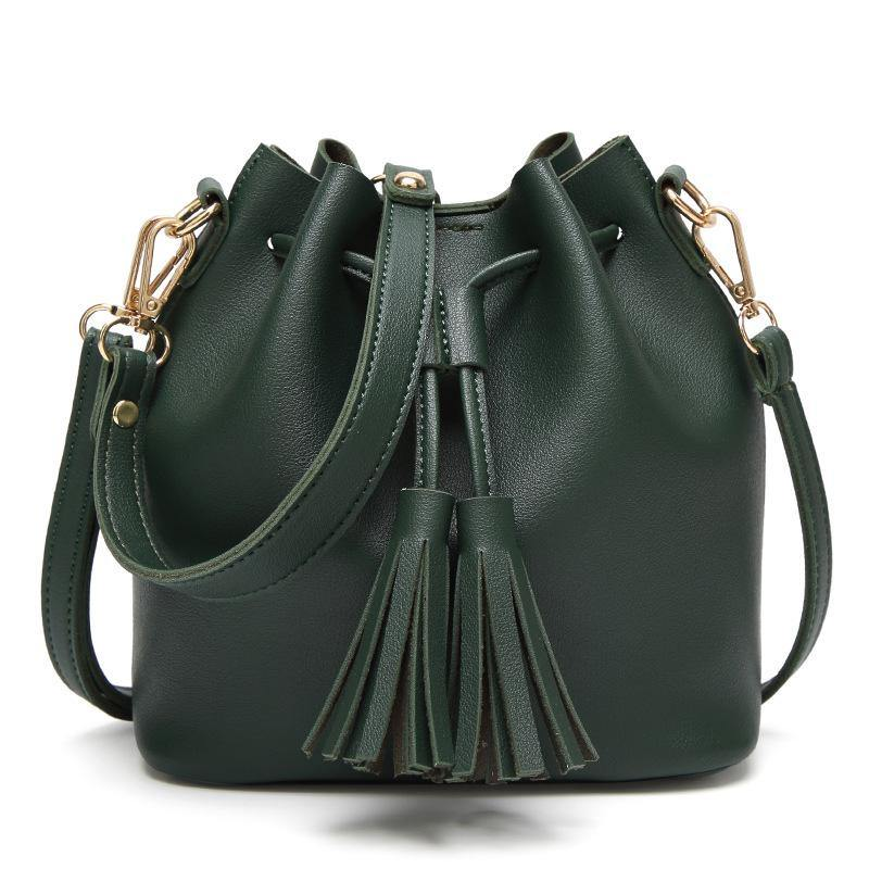 SMALL GREEN DRAWSTRING TASSEL BUCKET BAG / CROSS BODY SHOULDER BAG