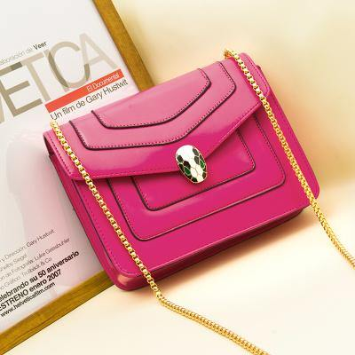 A-SHU FUCHSIA PINK EMBELLISHED CLASP CROSS-BODY BAG WITH LONG CHAIN STRAP - A-SHU.CO.UK