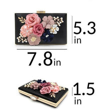 A-SHU DARK RED 3-D FLORAL PEARL CLUTCH BAG WITH EMBELLISHED CLASP - A-SHU.CO.UK