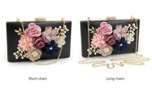 A-SHU GOLD 3-D FLORAL PEARL CLUTCH BAG WITH EMBELLISHED CLASP - A-SHU.CO.UK