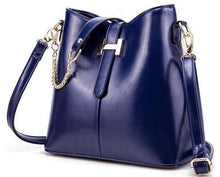 NAVY BLUE DESIGNER STYLE HANDBAG WITH SHORT AND LONG STRAPS
