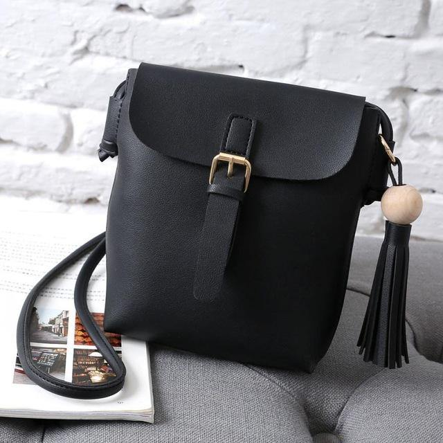 A-SHU BLACK LIGHTWEIGHT CROSS-BODY MESSENGER BAG WITH TASSEL - A-SHU.CO.UK