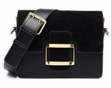 A-SHU BLACK FAUX SUEDE CROSS-BODY BAG WITH WIDE SHOULDER STRAP - A-SHU.CO.UK
