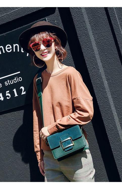 A-SHU GREEN FAUX SUEDE CROSS-BODY BAG WITH WIDE SHOULDER STRAP - A-SHU.CO.UK