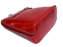 SMALL DEEP RED GENUINE LEATHER BAG WITH LONG SHOULDER STRAP