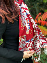 LARGE RED CHAIN AND LEOPARD PRINT DESIGN SHAWL SCARF
