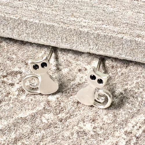 925 STERLING SILVER SMALL BLACK EYE CAT STUD EARRINGS