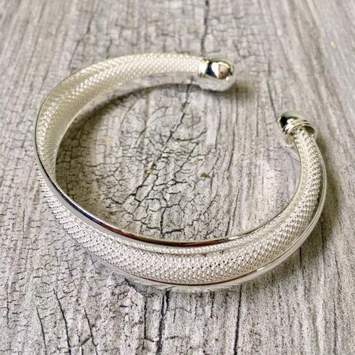 925 STAMPED STERLING SILVER PLATED TWISTED MESH CUFF BANGLE