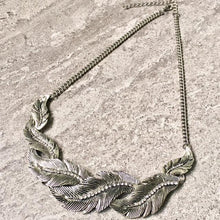 A-SHU ANTIQUE PEWTER SILVER SHORT DIAMANTE LEAF CHOKER NECKLACE - A-SHU.CO.UK