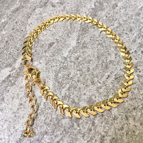 A-SHU GOLD FISH BONE CHAIN LINKED ANKLET / ANKLE BRACELET - A-SHU.CO.UK