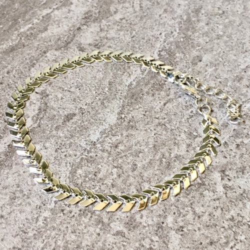 A-SHU SILVER FISH BONE CHAIN LINKED ANKLET / ANKLE BRACELET - A-SHU.CO.UK