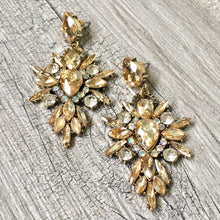 A-SHU LARGE DIAMANTE STONE OPULENT CRYSTAL DROP EARRINGS - A-SHU.CO.UK