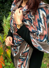 LARGE TAUPE BROWN CONTEMPORARY ZIG ZAG PASHMINA SHAWL SCARF