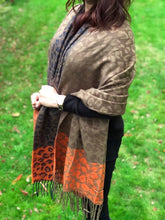 ORDER BY REQUEST - LARGE WOOL MIX THICK LEOPARD PRINT SHAWL - ORANGE