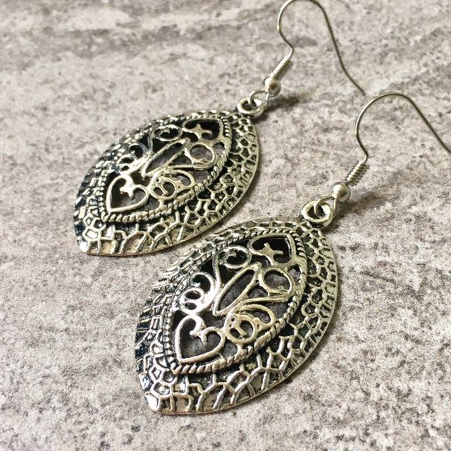 TIBETAN SILVER CARVED HOLLOW PENDANT DROP EARRINGS