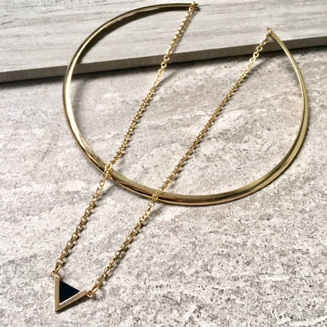 A-SHU BLACK TRIANGLE MULTI LAYER SHORT CHOKER NECKLACE - A-SHU.CO.UK