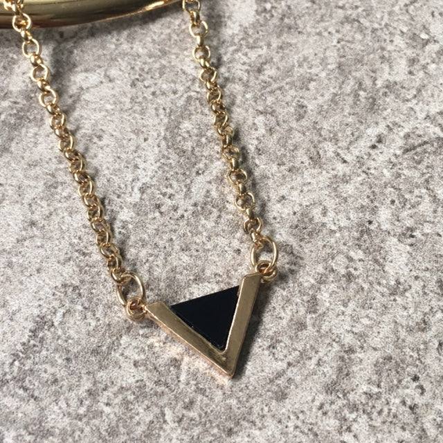 4165aac6cf999 BLACK TRIANGLE MULTI LAYER SHORT CHOKER NECKLACE
