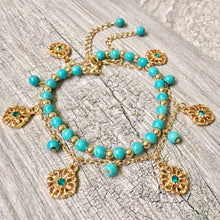 TURQUOISE BLUE BOHO INSPIRED GOLD PLATED 2 PIECE ANKLET / ANKLE BRACELET SET
