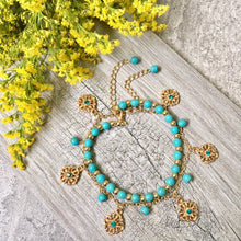 A-SHU TURQUOISE BLUE BOHO INSPIRED GOLD PLATED 2 PIECE ANKLET / ANKLE BRACELET SET - A-SHU.CO.UK