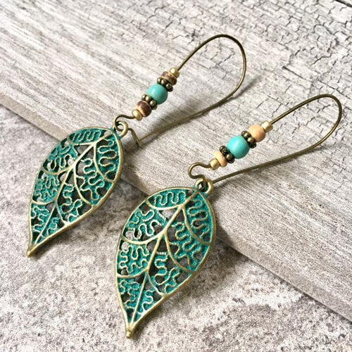 ANTIQUE TURQUOISE GREEN HOLLOW LEAF DANGLE DROP EARRINGS