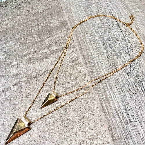 A-SHU MULTI LAYER POINTY TRIANGLE ARROW GOLD CHAIN NECKLACE - A-SHU.CO.UK