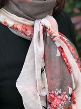 A-SHU LARGE BLUSH AND BROWN LARGE FLORAL PRINT LIGHTWEIGHT SCARF - A-SHU.CO.UK