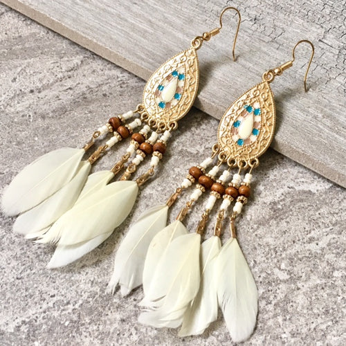 BOHO INSPIRED CREAM LONG DROP FEATHER EARRINGS