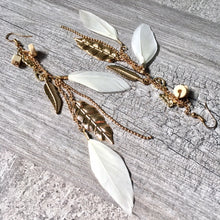 LONG BOHO INSPIRED LIGHTWEIGHT CREAM FEATHER BEADED EARRINGS