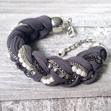 A-SHU PEARL AND DIAMANTE PLAITED / BRAIDED FABRIC BRACELET - A-SHU.CO.UK
