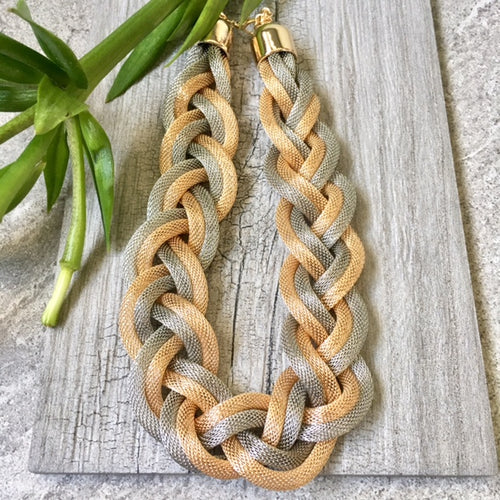ROSE GOLD SILVER METAL WOVEN TWIST CHUNKY CHAIN NECKLACE