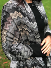 A-SHU GREY MULTI-COLOUR ZIG ZAG / CHEVRON PRINT SHAWL SCARF - A-SHU.CO.UK