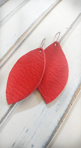 MyBella Marketplace Pumpkin Orange Custom Hand Cut Leather Leaf Earrings