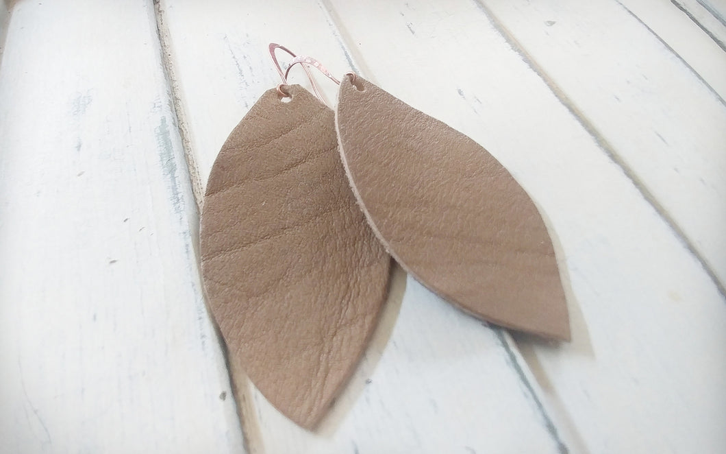 MyBella Marketplace Taupe Brown Custom Hand Cut Leather Leaf Earrings